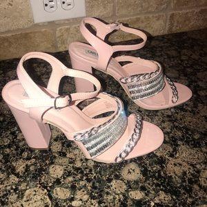 "Pink 4"" heels silver chains & rhinestones size 9"